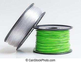 stampante, chiaro, contro, cristallo, luminoso, verde, filamento, 3d