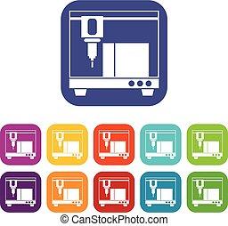 stampante, set, 3d, icone