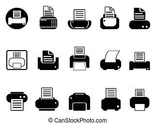 stampante, set, icone
