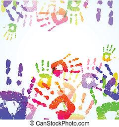 stampe, colorito, fondo, mano