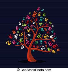 stampe mano, multi-etnico, albero, colorito