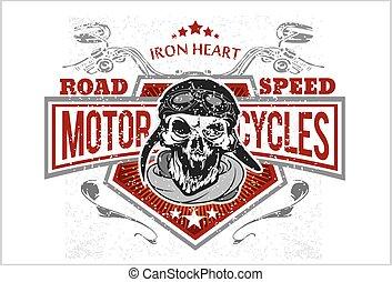 stampe, t-shirt, motociclista, emblems., vendemmia, cranio