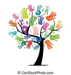 stampe, vettore, albero, colorito, mano