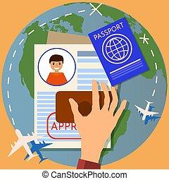 stamping., viaggiare, application., immigrazione, illustrazione, francobollo, vettore, passaporto, o, visto