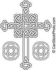 stampino, annodato, vettore, croce celtica
