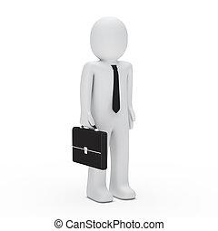 standing, 3d, uomo affari
