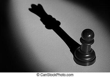 standing, actistic, conversione, oscurità, pegno, fare, regina, scacchi, uggia, riflettore