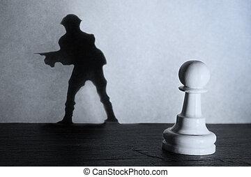 standing, actistic, conversione, oscurità, pegno, fare, soldato, scacchi, uggia, riflettore