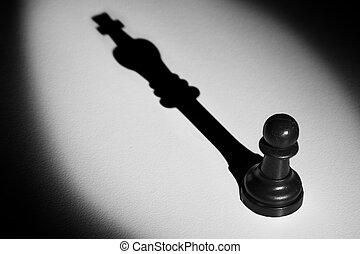standing, actistic, conversione, oscurità, pegno, re, fare, scacchi, uggia, riflettore