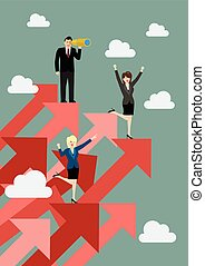 standing, affari donna, su, grafici, rosso, uomo