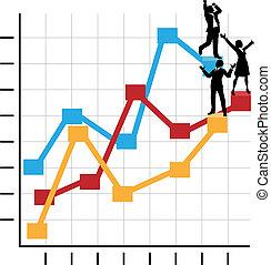 standing, affari, successo, persone, grafico, crescita, celebrare