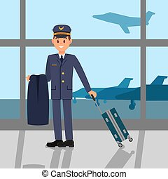 standing, appartamento, aeroporto, lavorativo, grande, pilota, giovane, airfield., giacca, finestra, vettore, disegno, presa a terra, suitcase., capitano, uniform., vista