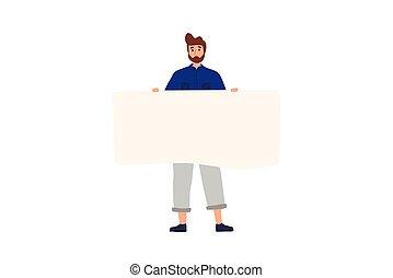 standing, appartamento, colorito, vuoto, presa a terra, banner., felice, cartone animato, illustration., vettore, ragazzo