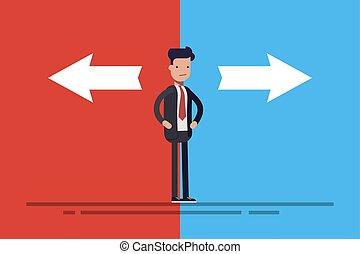 standing, appartamento, o, concetto, affari blu, frecce, due, illustrazione, cartone animato, fondo., direttore, dubbio, vettore, fronte, style., rosso, uomo