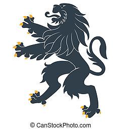 standing, araldico, leone