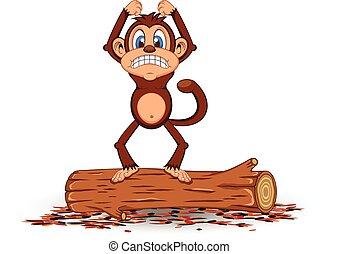 standing, arrabbiato, scimmia, cartone animato