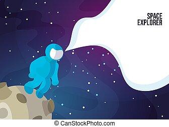 standing, asteroid., completo, o, un po', camminare, uomo, banner., exlorer, blu, web, luna, pianeta, vettore, spazio, profondo, spazio, astronauta
