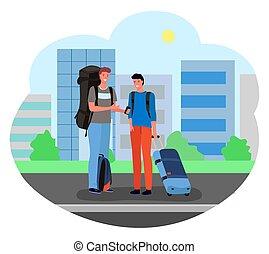 standing, bagaglio, maschio, turisti, valigie