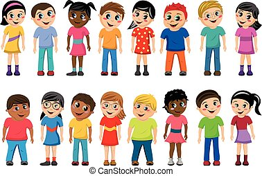 standing, bambini, multicultural, bambini, isolato