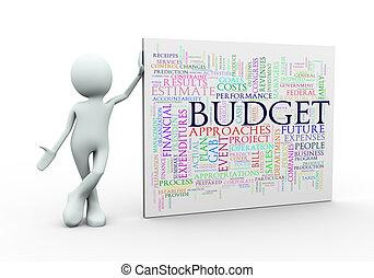 standing, budgt, parola, etichette, wordcloud, uomo, 3d