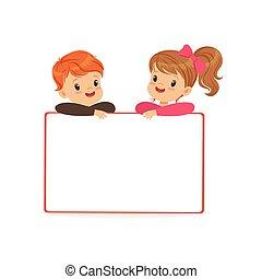 standing, carino, bambini, cartellone, ragazzo, bianco, illustrazione, dietro, vettore, caratteri, bacheca, ragazza, vuoto