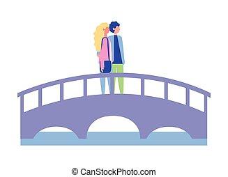 standing, carino, coppia, ponte