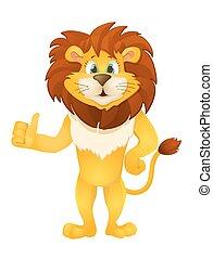 standing, carino, lion., illustrazione, vettore, cartone animato