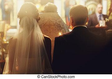 standing, cerimonia, luce sole, dietro, durante, vista