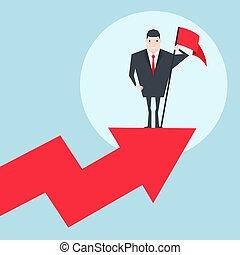 standing, cima, graph., vendite, bandiera, presa a terra, uomo affari, rosso