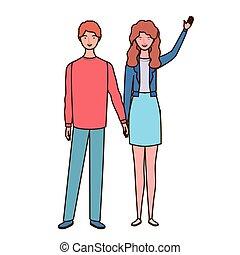 standing, coppia, sfondo bianco, persone
