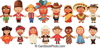standing, cultura, differente, insieme