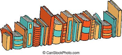 standing, differente, /, libri, biblioteca, pila