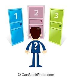 standing, differente, porta, tre, fronte, uomo affari