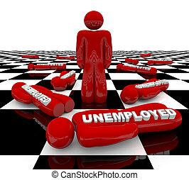 standing, -, disoccupazione, ultimo, uomo