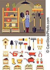 standing, donna felice, set, giardinaggio, icona, appartamento, concept., grafico, carattere, isolato, illustrazione, vettore, tools., disegno, sorridente, agricoltura, agricoltura, cartone animato, giardiniere, granaio