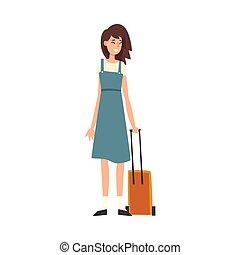 standing, donna, giovane, vacanza, viaggiare, vettore, illustrazione, ragazza, bello, ruote, valigia