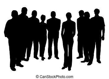 standing, donna, gruppo, persone, giovane, fronte