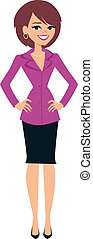 standing, donna, illustrazione