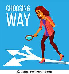 standing, donna, scegliere, affari, frecce, tre, illustrazione, isolato, modo, vector.
