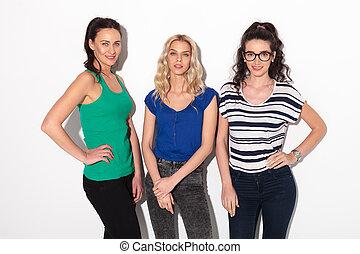 standing, donne, studio, tre, giovane