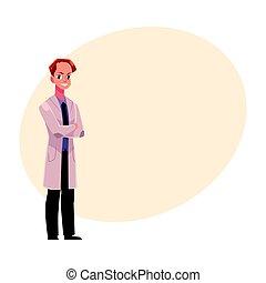 standing, dottore, cappotto, medico, bracci piegati, maschio, uomo