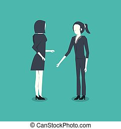 standing, due, donne affari