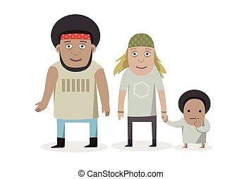 standing, famiglia, persone, -, isolato, illustrazione, giovane, fondo., genitori, caratteri, children., sorridente, bianco, cartone animato, felice
