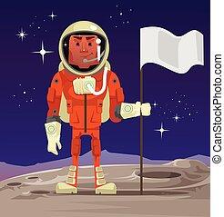 standing, flag., illustrazione, pianeta, vettore, astronauta, presa a terra, cartone animato