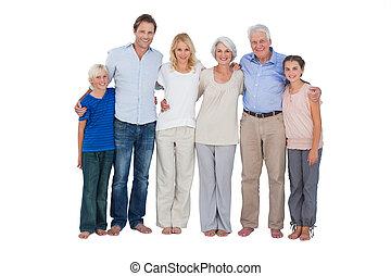 standing, fondo, contro, famiglia bianca