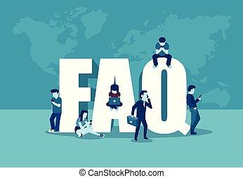 standing, frequently, lettere, persone, concept., congegni, vettore, domande, digitale, usando, chiesto