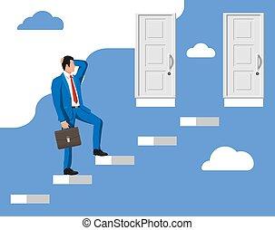 standing, fronte, chiuso, doors., due, uomo affari