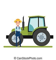 standing, garden., agriculture., lavoratore, tractor., prossimo, macchinario, piantagioni, contadino, nuovo, o, felice