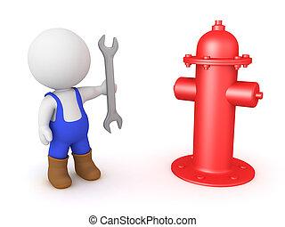 standing, idrante, fuoco, lavoratore, prossimo, strappare, 3d