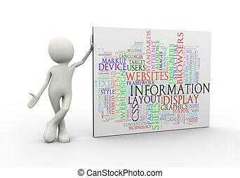 standing, informazioni, parola, etichette, wordcloud, uomo, 3d